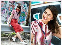 Fashionlingual, Desirée - Rebecca Minkoff Bag, Wood Watch, Kenneth Cole Sneakers, Sunnies - Lady in Red