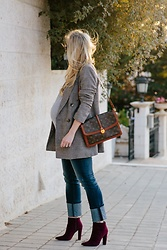 Meagan Brandon - Plaid Blazer, Similar Vintage Bag, Wide Cuff Jeans, Burgundy Boots - Menswear Plaid Blazer & Wide Cuff Jeans