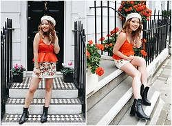 Eliza Tanudjaja - Topshop Cami Cutout, Topshop Embroidery Skirt, Bared Footwear Black Boots - Red Hot Chilli Peppers