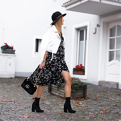 Catherine V. - Mango Hat, Zara Perfecto, Boohoo Flower Printed Wrap Dress, Gucci Marmont, Missguided Sock Boots - WEARING FLOWERS IN FALL