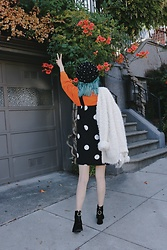 Nancy Qian - & Other Stories Polka Dot Dress, Forever 21 White Teddy Bear Cardigan, Reike Nen Velvet Ring Boots, Zara Pearl Beret, Monki Orange Sweatshirt - Orange is for October