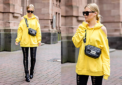 Sunnyinga - Na Kd Yellow Hoodie, New Look Skinny Jeans, Buffalo Leather Boots, Zara Bag - Yellow Hoodie Love