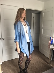 Cindy Batchelor - Amazon Denim Cardigan, Amazon Triangle Fishnets - Denim Cardigan and Fishnets