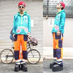 @KiD - Obey Red Beenie, Ozk Expo, Vintage Fireman Pants, Buffalo Platform - JapaneseTrash219