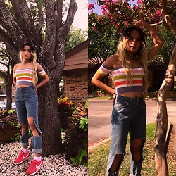 Nabina Magar - Shein Crop Top, Nike Cortez, Shein Vintage Denim - Rainbow top