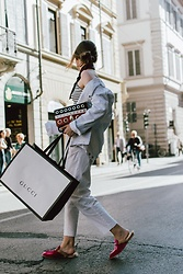 Andreea Birsan - White Distressed Denim Jacket, One Shoulder Striped Top, Silk Scarf, Gucci, White High Waisted Trousers, Striped Eyelet Shoulder Bag, Hot Pink Fur Mules - Pink mules