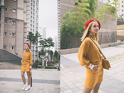 Olga Choi - Styled Moscow Beret, Romwe Skirt - Monochrome time
