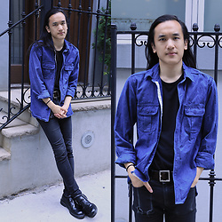 Xanthium James - Urban Outfitters Denim Shirt, Uniqlo Black Tee, Uniqlo J+ Belt, Cheap Monday New Black, Dr. Martens Boanil Brush - Joe