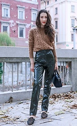 Veronika Lipar - Maxmara Camel Cable Knit Sweater, Acne Studios Green High Shine Vinyl Pants - High Shine and Cozy Knits
