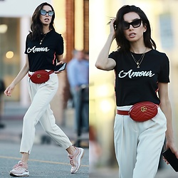 Claudia Salinas - River Island Pearl Embellished Tshirt, Gucci Belt Bag, Nike Air Max 97, River Island Off White Pants, Dita Sunnies - 10.27.17