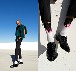 Dominic Grizzelle - T.U.K. Footwear Corset Lace Jam Shoe, Urban Outfitters Flame Socks, Calvin Klein Slim Fit Trousers, Quay Retro Sunnies - Motorsport