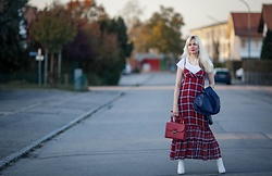 Maria R - New Look Faux Leather Jacket - Plaid Dress