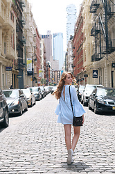 Natalie A - Blue Dress, Mackage Mini Rubie Bag, Adidas Sneakers - SoHo