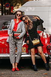 Andreea Birsan - Double Breasted Check Printed Blazer, Polka Dot Mini Dress, Yellow Mini Bag, Red Hoodie, Round Sunglasses, Check Printed High Waisted Trousers, Fishnet Tights, Lace Up Ankle Boots, Red Marmont Pumps - PFW SS18