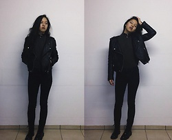 Tram Anh - Choker, Top, H&M Fake Leather Jacket, Cheap Monday Skinny Jeans, Mango Patent Boots - Bye Bye Blackbird