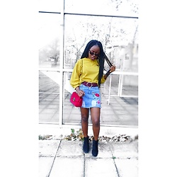 Abimbola Ogunsanya - Zaful Chevron Patches Puffy Sleeves Jumper - Colour blocking