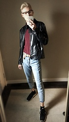Alden Mueller - H&M Trend Denim, Giorgio Armani Leather Jacket, Nike Flex - Just ad Leather