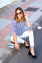 Marianela Yanes - Stradivarius Shirt, Zara Pants, Zara Shoes - Striped Shirt and Granny Shoes