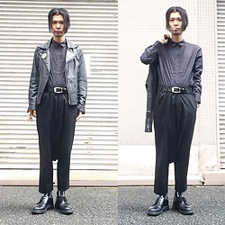 @KiD - Uniqlo Dress Shirts, Leather Riders, Comme Des Garçons Penguin Pants, Dr. Martens 3 Hole Shoes - JapaneseTrash221