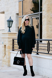 Meagan Brandon - Sweater Dress (Under $80!), Gucci Dionysus Bag, Sock Boots - Cozy Sweater Dress & Sock Boots
