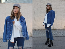 Claudia Villanueva - Zara Cap, Zara Jacket, Zara Sweater, Zaful Jeans, Public Desire Boots - Double Denim & Shoulder Pads