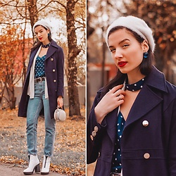 Natasha Karpova - Shein Polka Dot Blouse, Shein Mom Jeans, Bershka White Shoes, Fashionmia Military Coat, Unknown Brand White Knitted Cardigan, Ostin Beret - AUTUMN IN POLKA DOTS