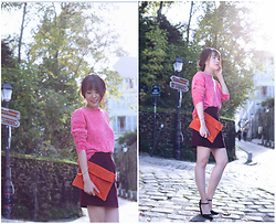 FromAmandaWithLove - New Look Rose Sweater, Asos Orange Handbag, Oasis Violet Skirts - A chic and warm look in fall
