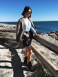 Marion Style - Pull & Bear Prince De Galles Coat, Ralph Lauren Top, Missguided Vinyl Skirt, Zara Bag, Ray Ban Sunnies - Blue
