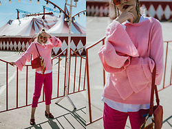 Andreea Birsan - Bell Sleeve Sweater, White Button Down Shirt, Hot Pink Tailored Trousers, Gucci Marmont Medium Heel Pumps, Coral Camera Bag, Red Tinted Sunglasses, Silk Scarf - Bell sleeves