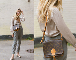 Gabrielle Lacasse - Louis Vuitton Cartouche Bag, Vintage Pants, H&M Silky Top - Vintage Cartouche bag