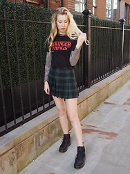Bec Oakes - Topshop Graphic Tee, Topshop Mesh Top, American Apparel Tennis Skirt, Dr. Martens Boots - Stranger Things