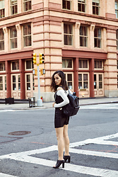 Susan Hang - Zara Backpack, Tibi Mules, Privacy Please Slip Dress - The Calm of Tribeca