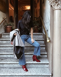 Tiffany Wang - Zara Boots, Reformation Jeans - RED BOOTIES