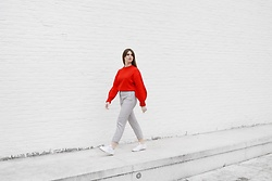 Sofie Rome - H&M Red Sweater, H&M Grey Pants, Reebok White Sneakers - That Lucky Red Sweater