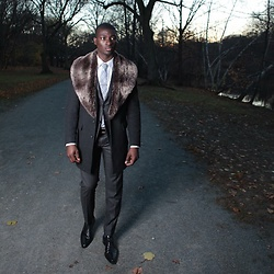 Nas Abayomi - Canali Suit, Tweed Jacket, Topman Fur Scarf - Fall in Boston