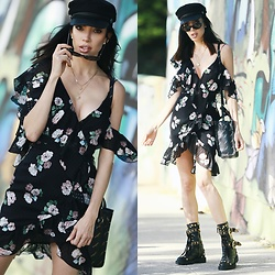 Claudia Salinas - Nicholas Floral Asymmetric Dress, Asos Baker Boy Hat, Balenciaga Bazaar Logo Bag, Fausto Puglisi Studded Moto Boots, Elizabeth And James Oval Sunglasses - 11.1.17