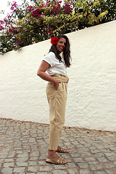 Joana Sá - Pull & Bear T Shirt, Zara Paper Bag Pants, Zara Golden Slippers - Paper bag