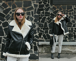 Kristina Magdalina - Poppy Lovers Jacket - Faux Leather Aviator Jacket