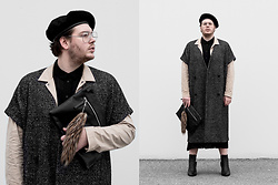 Wyatt Morgan - Weekday Hat, Weekday Wool Vest Dress, Cos Beige Jacket, Zara Black Faux Leather Clutch, Monki Black Dress - 01 11