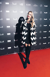 Madara L - Stradivarius Over The Knee Boots, H&M Black Mini Dress - Riga Fashion week outfit #1