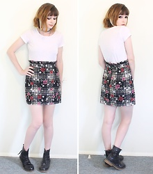 Rachel-Marie - Romwe Frill Top Checked Floral Skirt, Romwe Basic White T Shirt, Ebay Black Lace Up Martin Boots - Roses and Plaid and Frills - Oh My!
