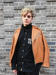 Peter Jones - Acne Studios Leather Jacket, Raf Simons Shirt - Orangeee