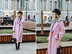 Margarita Maslova - T Skirt Pink Coat, Michael Kors Bag, Bershka Floral Print Shoes - Pink autumn