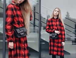 Lisa - Bag, Dress - Red plaid dress