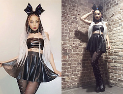 Shady Kleo - Pretty Little Thing Crop Top, Roxie Sweetheart Giant Bat Bow, Latex Skater Skirt, Asos Bat Tights, Asos Lace Choker, Yru Platforms - Hex On Legs