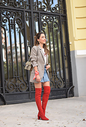 Besugarandspice FV - Zara Blazer, Gucci Bag, Uterqüe Boots - Red over the knee boots