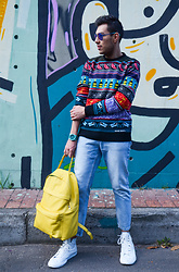 Ferch . - Diesel Dl 0070 Iridescent Lenses, Diesel K Cruz Cuba Collection Sweater, Diesel Dz1625 Watch, Zara Vintage Blue Wash Denim, Cacceres Yellow Leather Bag, Diesel High Exposure I In Painted Canvas - Colors in Patterns