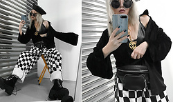 Vita Chen - Vii & Co. Zipper Leather Beret, Vii & Co. Brow Bar Round Sunglasses, Chanel Vintage Logo Necklace, Vii & Co. Velvet Blouse Shirt, Vii & Co. Faux Leather Funny Pack, Vii & Co. Checkerboard Bf Pants, Vii & Co. Lace Up Platform Boots - Checkerboard