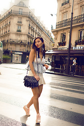 Louise Xin - Zara Ruffled Top, Zara Ruffled Leather Skirt, Zara Fringed Bag, Reebok Pastel Sneakers - Paris is always a good idea