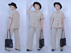 Suzi West - Mme. Esther Michael Howard Vintage Hat, Forever Young Wig, Ta Phan Asian Style Blouse, Gap Khaki Trousers, Nine West Purse, Mossimo Heels - 08 August 2017